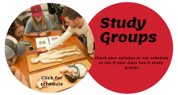A red circle reads: Check your syllabus or our schedule to see if your class has SI study  groups