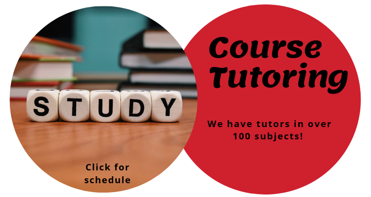 Text in a red circle reads: Course tutoring We have tutors in over 100 subjects!