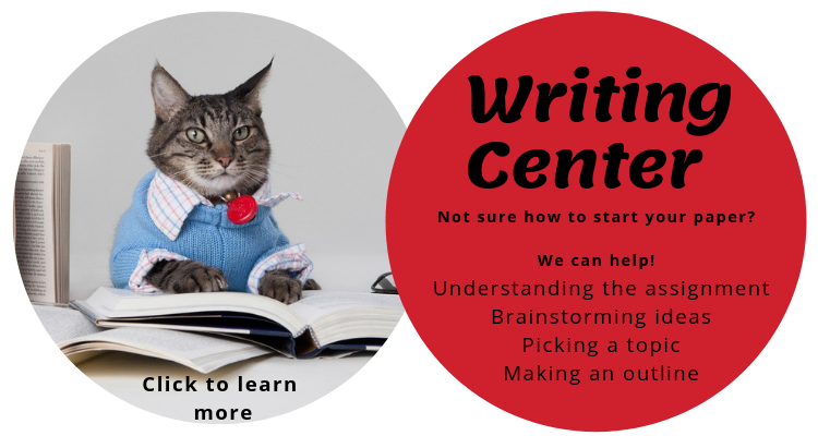 Two circles. 1 has a cat with a book. The other says: Not sure how to start your paper? We can help!