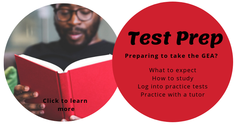 Text in a red circle reads: test prep. Preparing for the GEA? What to expect. How to study. Log into practice tests. Practice with a tutor