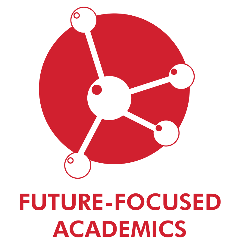 Future focused icon of a red circle with a network of connected circles