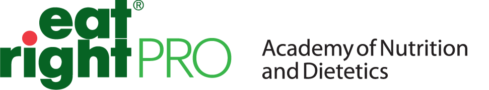 Academy of Nutrition and Dietetics logo. To the left you see the words eat right in bold and pro next to it.