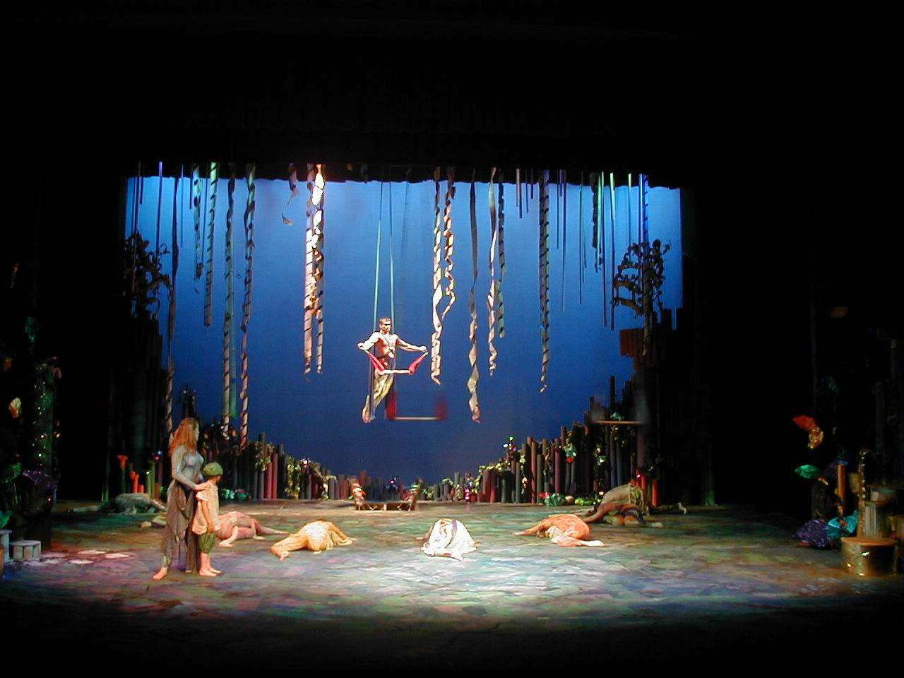 Actors on single point trapeze in A Midsummer Night's Dream