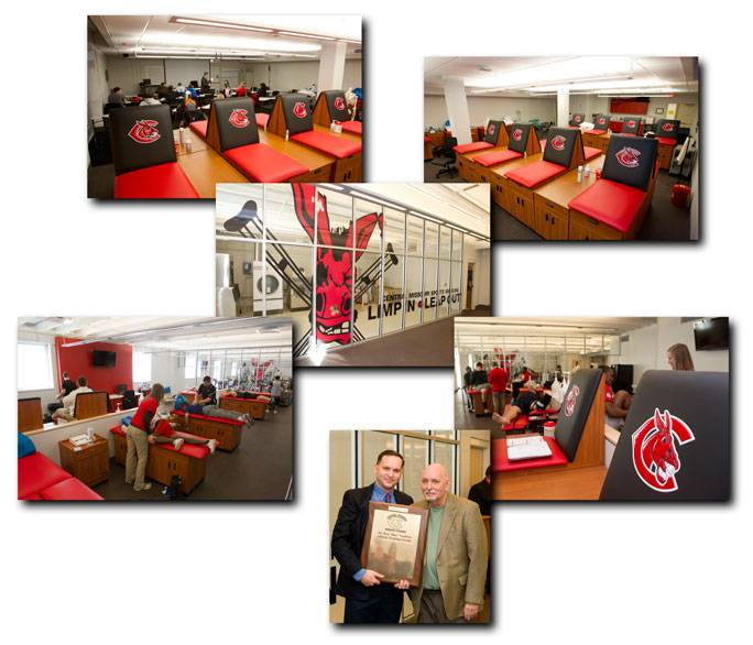 Collage of several pictures: Several athletic therapy tables with the UCM logo. Another picture is of an athlete laying face down and a trainer stretching their leg. Another image is of two men, one of which seems to be receiving a plaqued award.