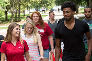 Group of students on campus tour