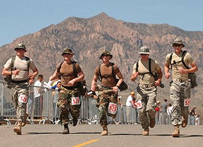 Cadets running outside