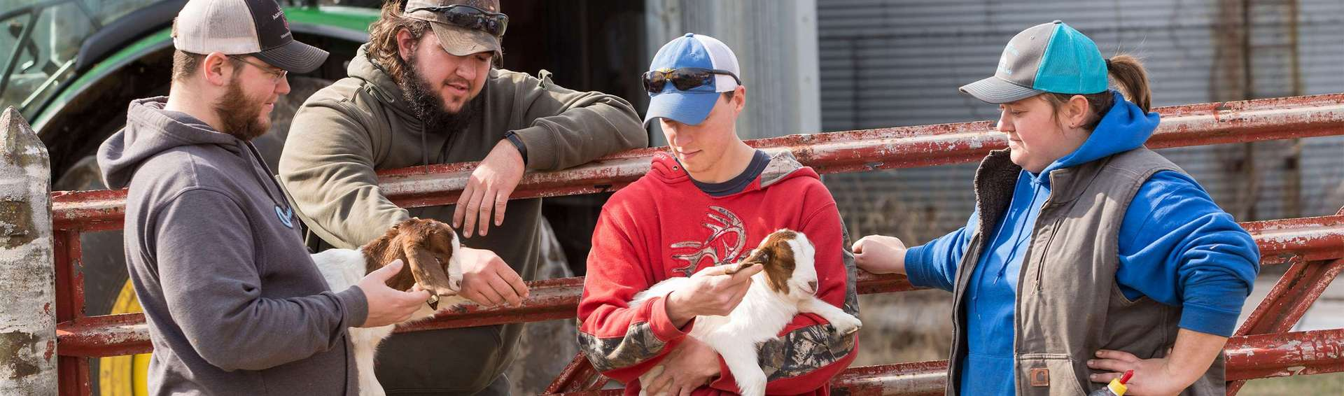 UCM farm student workers discussing ear tags for newly born goats.