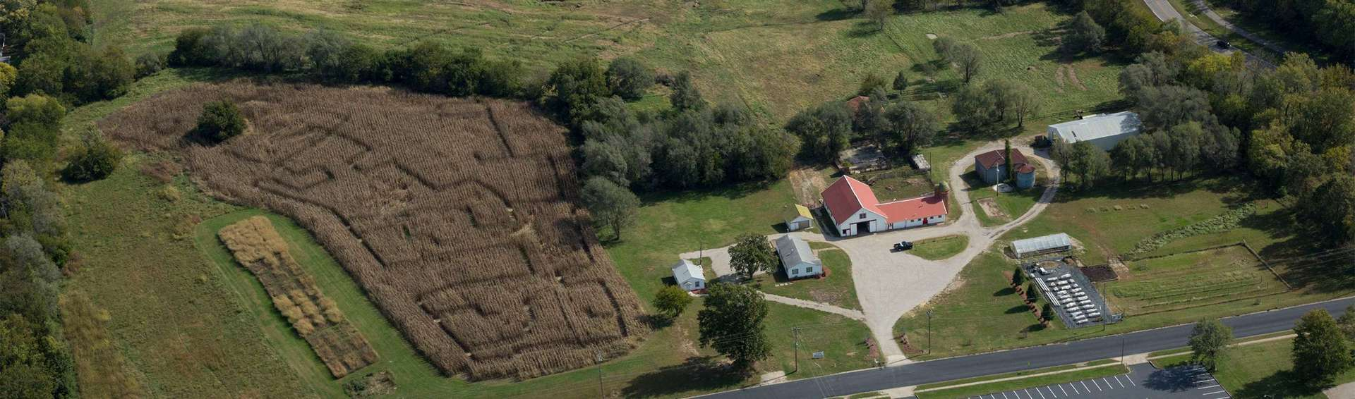 Ariel view of the UCM farm on Mitchell Street.