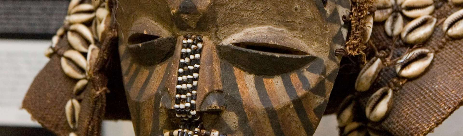 Up close of an African mask.