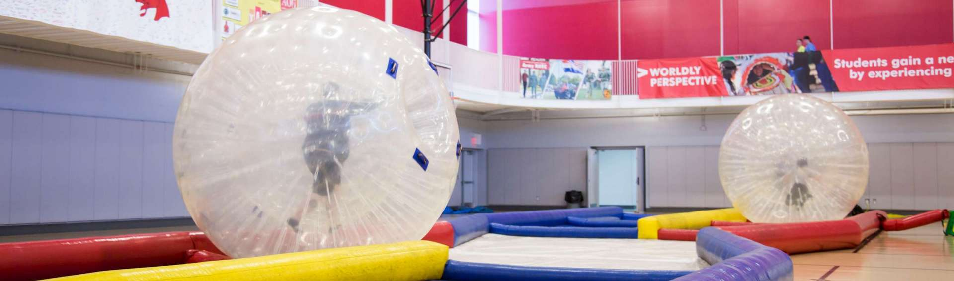 students participating in Zorb Racing