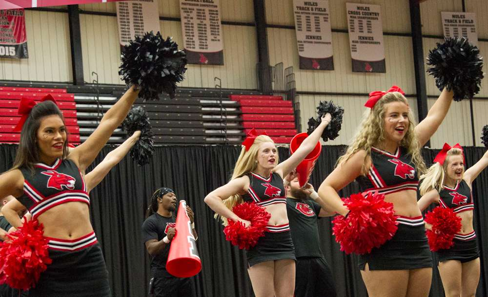 UCM cheerleaders at pep assembly