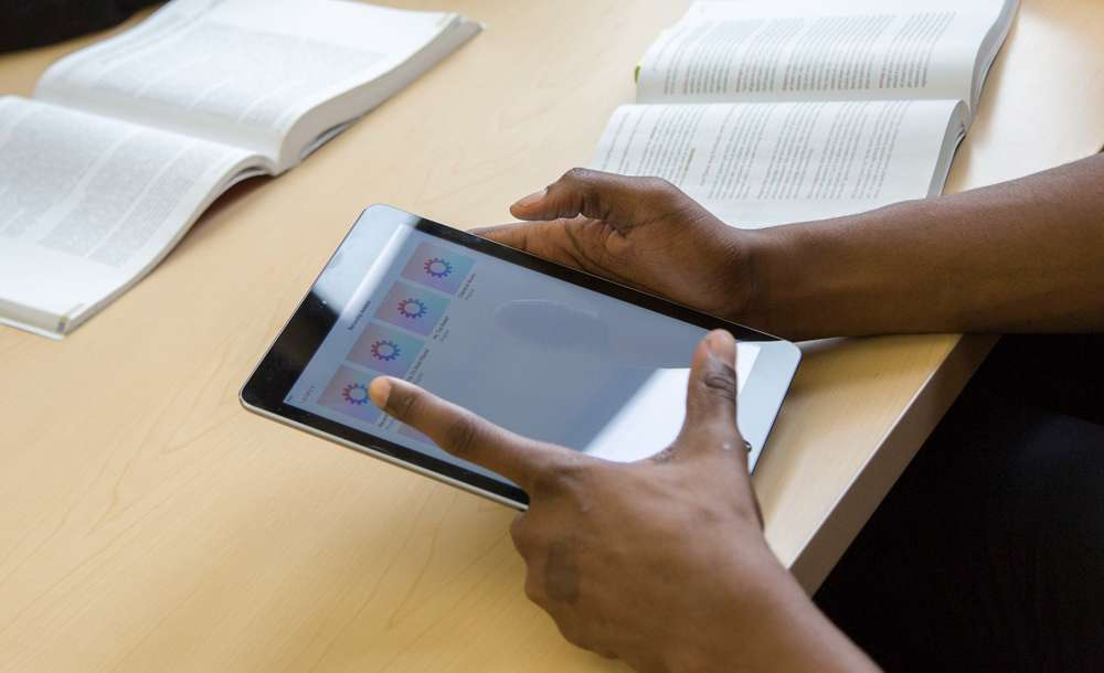 student using tablet