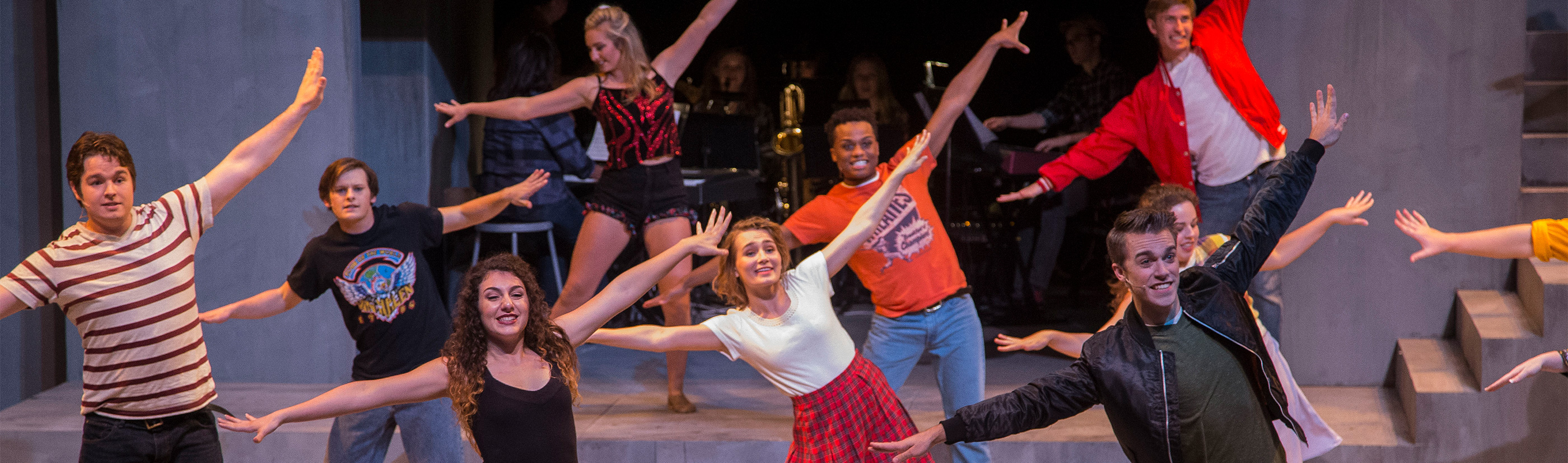 Students dancing in a production of Footloose