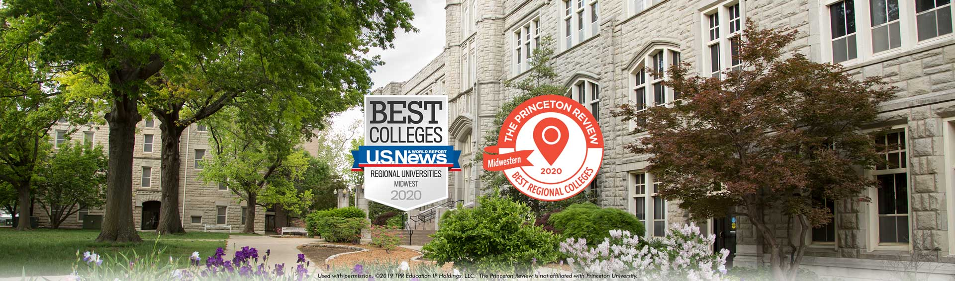 U.S. News & World Report Best Colleges - Regional Universities Midwest 2020 badge and Princeton Review Ranking - UCM in the fall