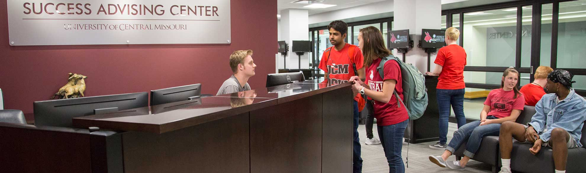 UCM students visiting at the Success Advising Center