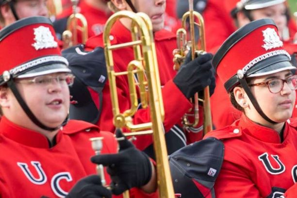 Thumbnail image: Members of the Marching Mules march in the UCM Homecoming Parade.