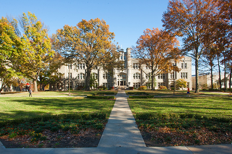 Administration building in the fall.