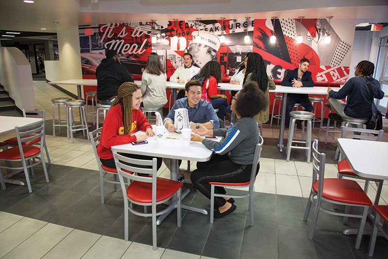 Students dining in the Elliott Student Union