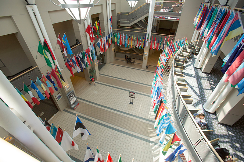 flags from all of the international countries that represent our students