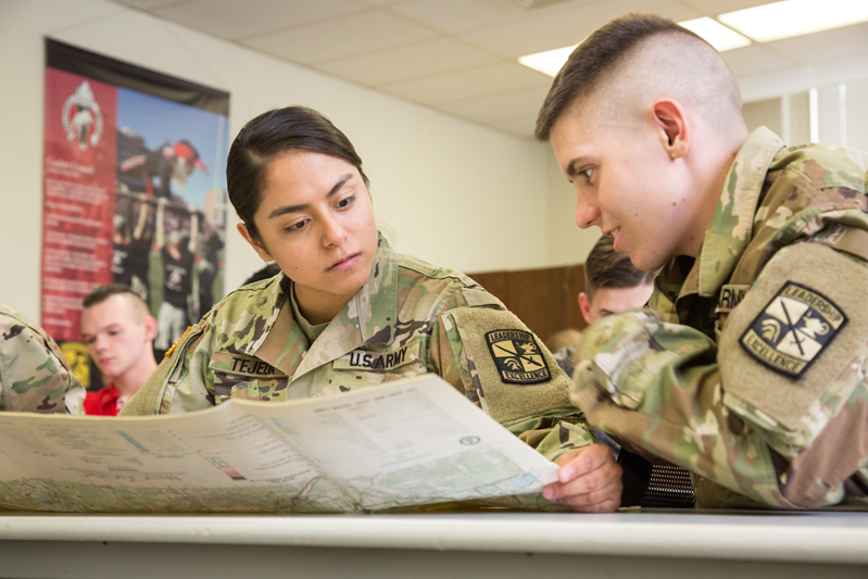 Two ROTC members reading a map