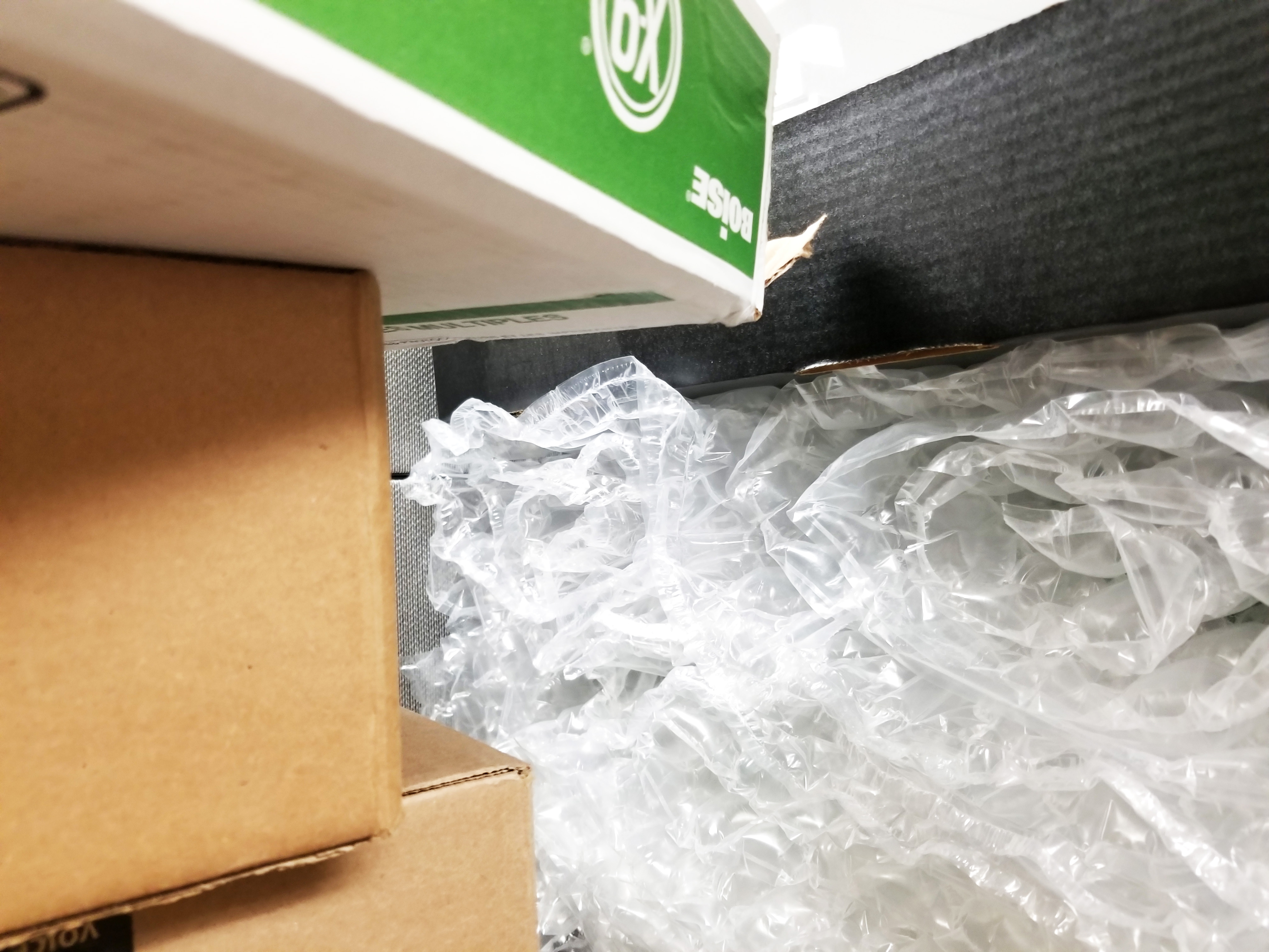 Bubble wrap and cardboard boxes