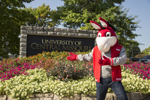 Mo the Mule in front of UCM sign