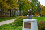 photo of the bust of Dale Carnegy on UCM quad
