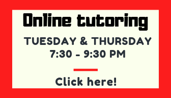Button reads: online tutoring Tuesday & Thursday 7:30-9:30 Click here